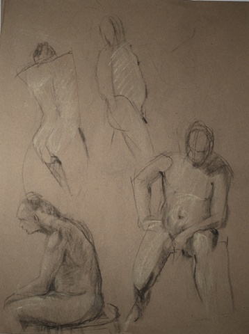 pastel drawing of male nudes by artist Lori Markman