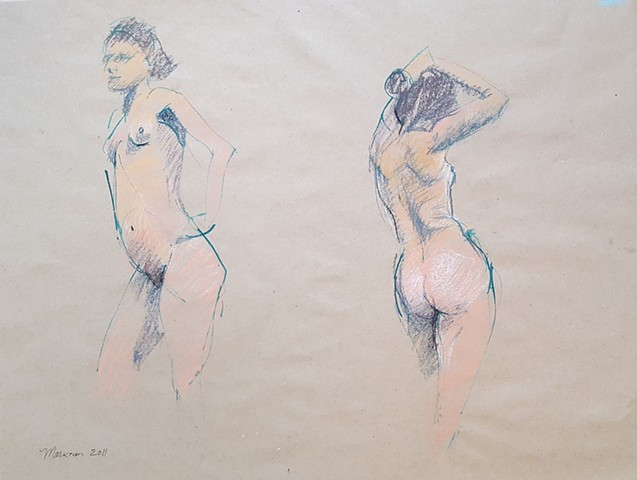 quick figure drawings of female nude by artist Lori Markman