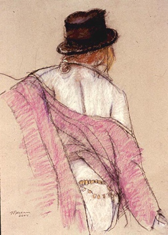 pastel drawing of female nude by artist Lori Markman with black hat and red scarf