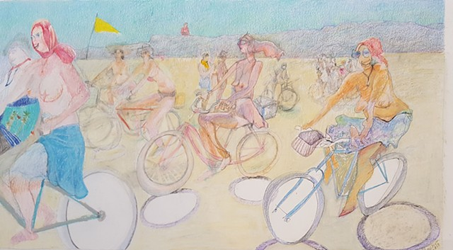 pastel, pencil drawing of nude women on bicycles at Burning Man by artist Lori Markman