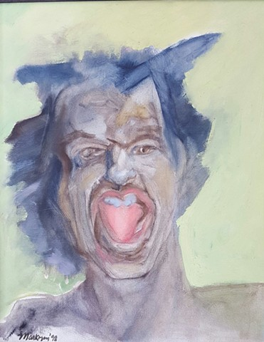 oil painting portrait of angry man by artist Lori Markman
