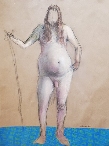 pastel mixed media drawing of long haired man with stick by artist Lori Markman
