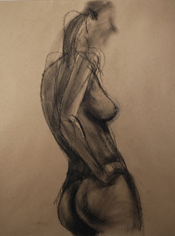 charcoal drawing of female nude by artist Lori Markman