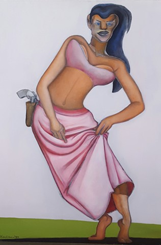 Oil painting of woman in pink with gun by artist Lori Markman