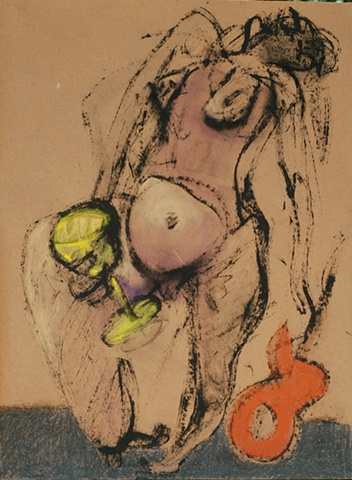 fexpressive figure drawing of female nude with guitar and wine glass by artist Lori Markman