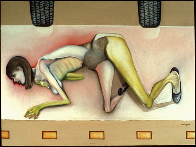 figurative oil painting of woman lying in road by artist Lori Markman