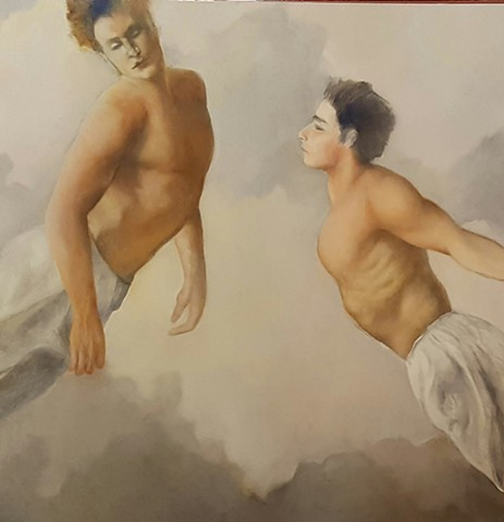 oil painting of two handsome young men flying in clouds by artist Lori Markman