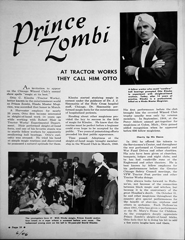 "Article about George's father, Otto Klauba as ""Prince Zombi the Magician"", 1946"