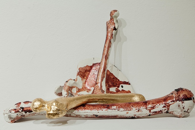 anatomical imagery, gold leaf, sculpture