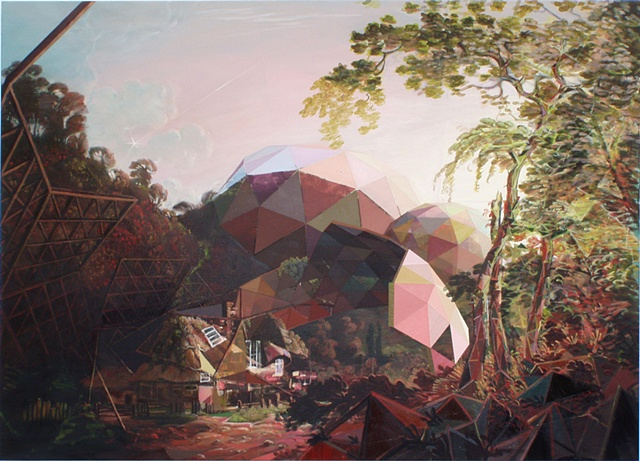 Wright of Derby painting re-mixed with geodisic forms