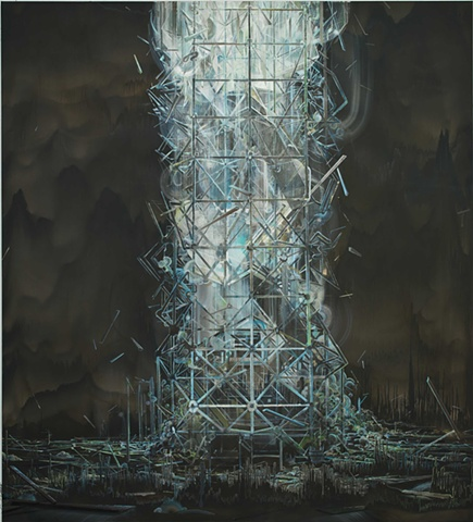 tower painting, exploding architecture,