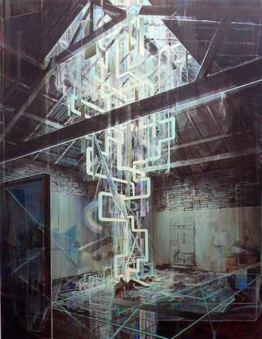 Visionary archecture, light column, interior painting,