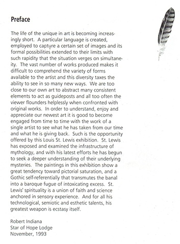 Robert Indiana Statement on Louis St.Lewis