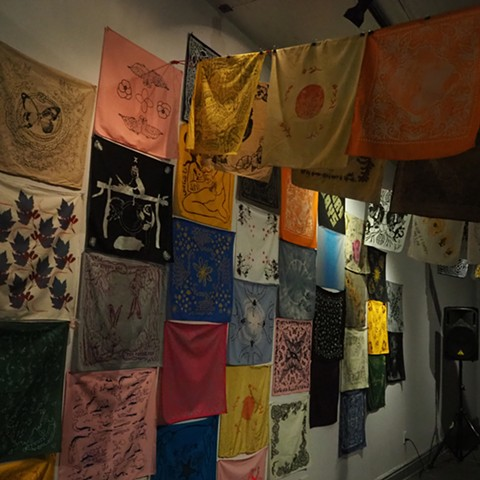 sample of artist hankies from installation at Irma Freeman Center for Imagination