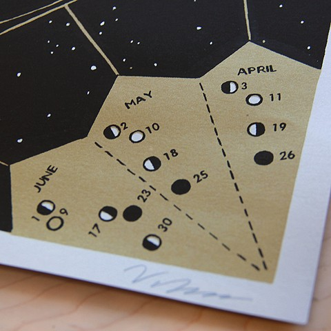 Screen printed lunar calendar shows dates of the phases of the moon. Photo by E. Henderson.