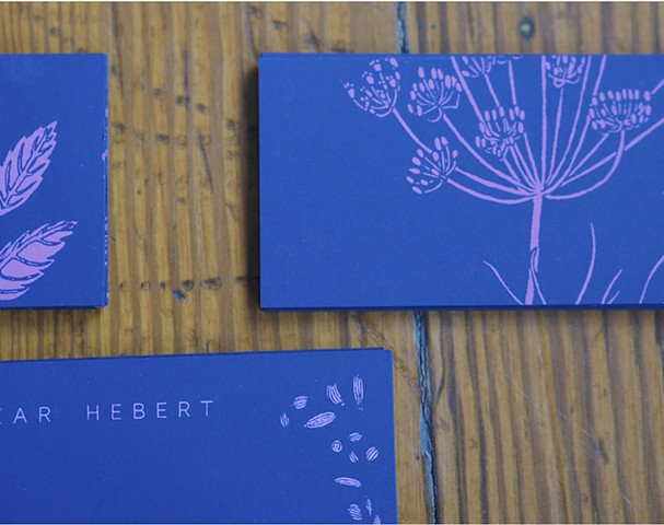 Two sided screen printed botanical business cards. Botanical drawings hand drawn and created specifically for project.