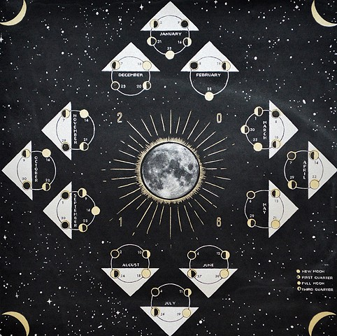 2016 two color silkscreen lunar calendar moon print moon phase chart