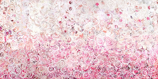 Wall of Roses in Pink