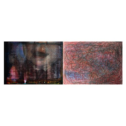 "The Red Christmas Stocking and Emmie Big Kisses  acrylic, colored pencil, washable crayon on canvas  diptych  68"" x 25"""