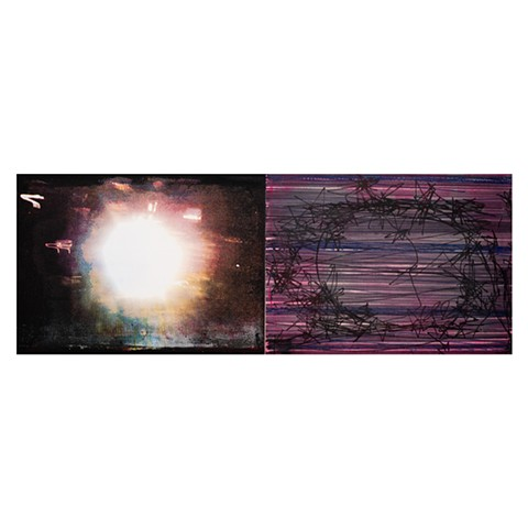 "Light Blind (Rittenhouse Hotel)  acrylic, oil, pigment marker on canvas diptych  68"" x 25"""