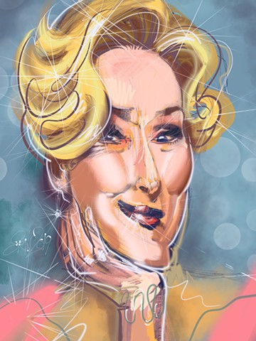 "Meryl Streep, digital caricature, 9"" x 12"""