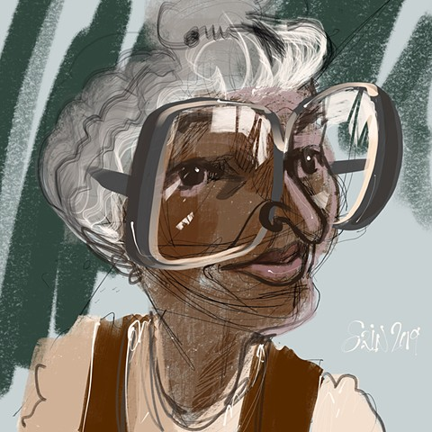"Rosa Parks, digital caricature, 9"" x 12"""