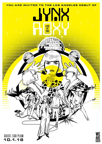 JYNX Live at the Roxy, poster design, illustration by Erin Goedtel, design by Kii Arens