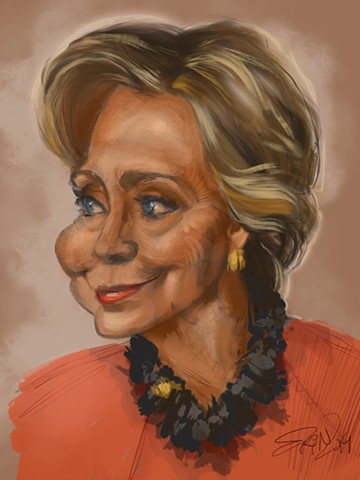 "Hilary Clinton, digital caricature, 9"" x 12"""