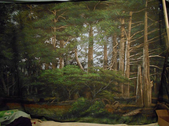 Forest Mural, acrylic on canvas
