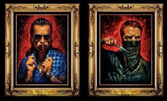 Black Velvet Portraits, Heart On album artwork, Eagles of Death Metal, oil on black velvet