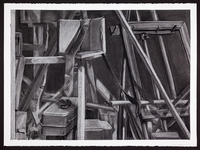 "Drawing 200: Reductive Method Still Life, University of Wisconsin-Stout, Charcoal on Stonehenge Paper, 22""x30"""