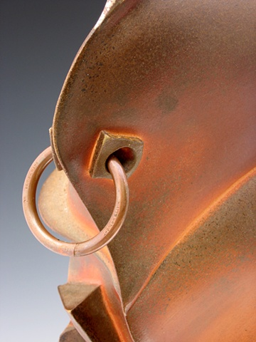 Anagama wood fired, slab built stoneware, copper
