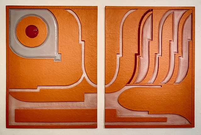 Diptych Red Clay ceramic panels w/terra sigillata 2019