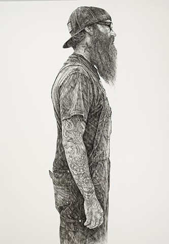 Ink drawing, Sumi ink, Pen and ink, Portrait, Large-scale drawing, Black and white, Beard, Tattoo