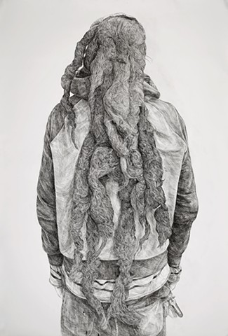Ink drawing, Sumi ink, Pen and ink, Portrait, Large-scale drawing, Black and white, Dreadlocks,