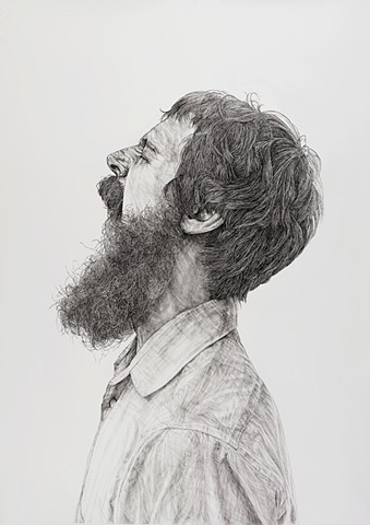 Ink drawing, Sumi ink, Pen and ink, Portrait, Large-scale drawing, Black and white