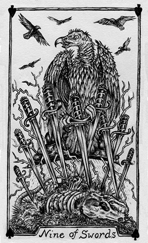 nine of swords, 9 of swords, gray tarot, tarot cards, vulture tarot, nature tarot, dead possum, lightning