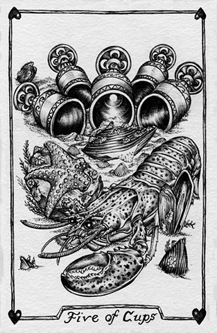 Five of cups, 5 of cups, gray tarot, lobster, clams, muscles, cups, bottom feeders, starfish, loss