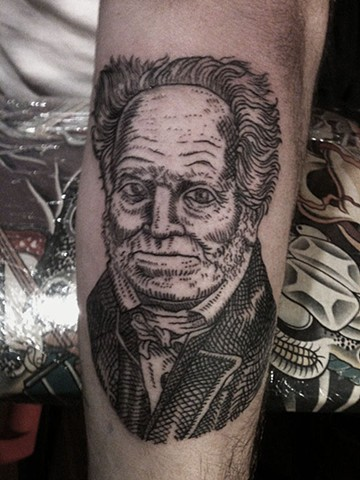 schopenhauer tattoo, custom line tattoo, portrait tattoo, leta lou tattoo, leta gray,