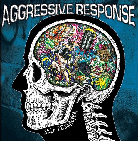 Aggressive Response, Albany Hardcore, Leta Gray, Self Destroyer, punk rock, skull section, illustrative cartoon, album cover