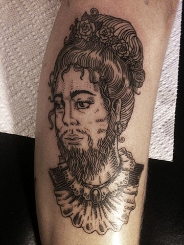 bearded lady, tattoo, etching tattoo, leta gray, portrait tattoo, Leta Gray, Leta tattoo