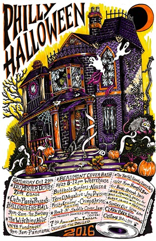 philly halloween, philly halloween art, philadelphia halloween, philadelphia cover shows, leta gray, halloween poster