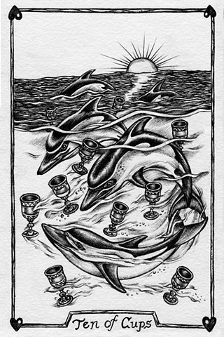 ten of cups, 10 of cups, gray tarot, dolphins, family of dolphins, joy, good family, home life