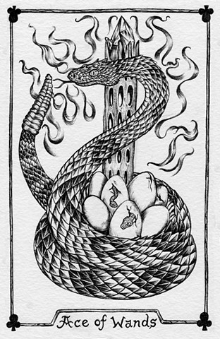 ace of wands, gray tarot, snake tarot, rattlesnake, snake eggs, crystals, cactus, leta gray