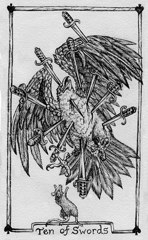 ten of sword, gray tarot, eager tarot, golden eagle, rat, swords, tarot