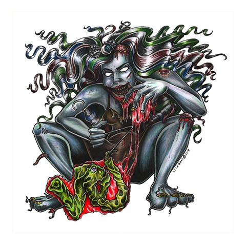 voj glass, zombie abortion, leta gray, glass, zombie babe, zombie pinup, monster abortion