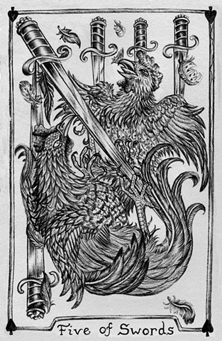 five of swords, 5 of swords, gray tarot, rooster, cock fight, rooster tarot, swords, feathers, fighting cocks