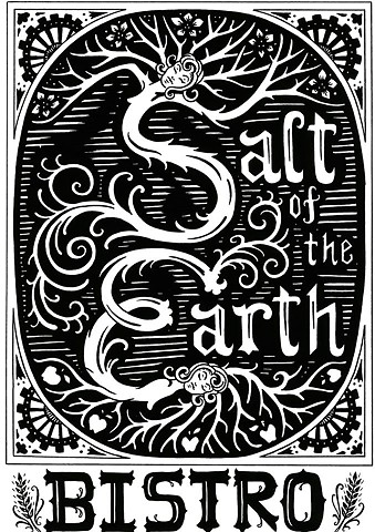 salt of the earth bistro, restaurant logo. leta gray, foodie, artisanal, lake placid dining,