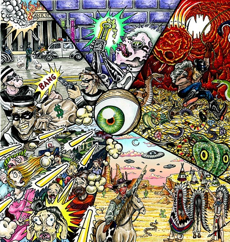 album cover comic style awesome funny movie scenes, lemon gold and the sneaky snakes