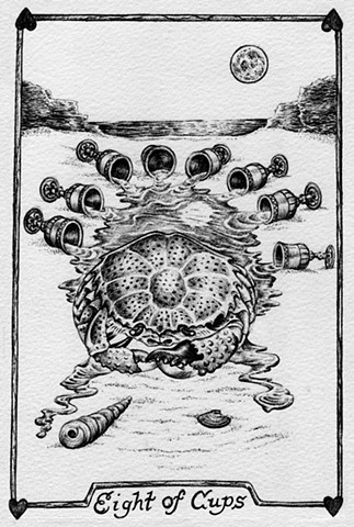 eight of cups, 8 f cups, water, crab, moon, sadness, despair, lost, gray tarot, the ocean, the moon